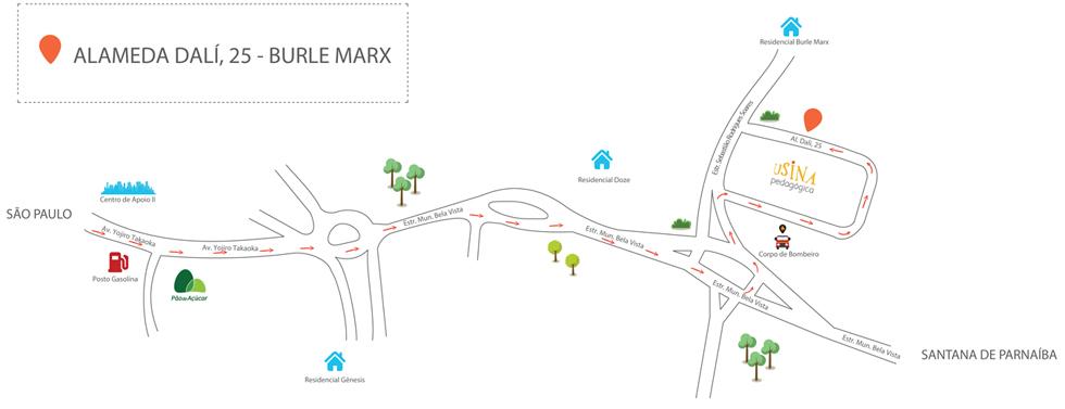 Mapa - Como chegar na Usina Pedagógica